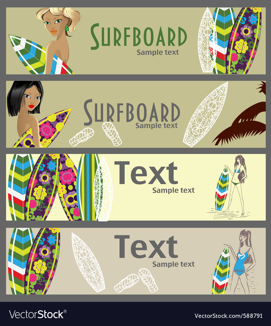 Surfer banners vector | Price: 3 Credit (USD $3)