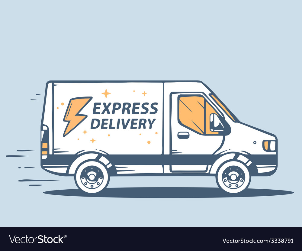 Van express delivery of goods to customer vector | Price: 1 Credit (USD $1)