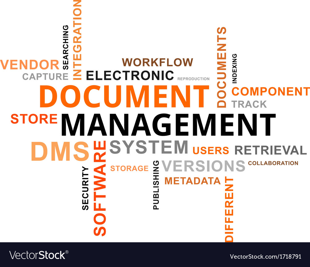 Word cloud document management vector | Price: 1 Credit (USD $1)