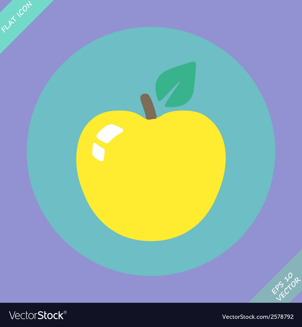 Apple sign icon fruit with leaf symbol - vector | Price: 1 Credit (USD $1)
