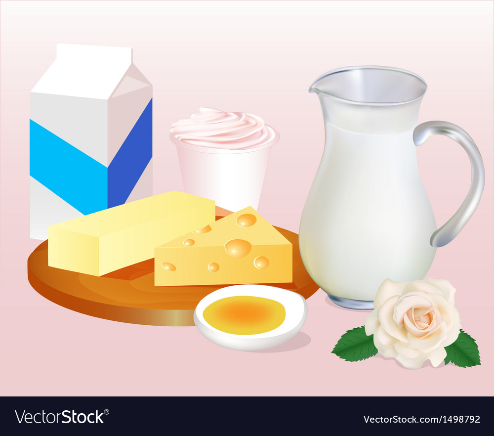 Background with milk butter cheese eggs vector | Price: 1 Credit (USD $1)