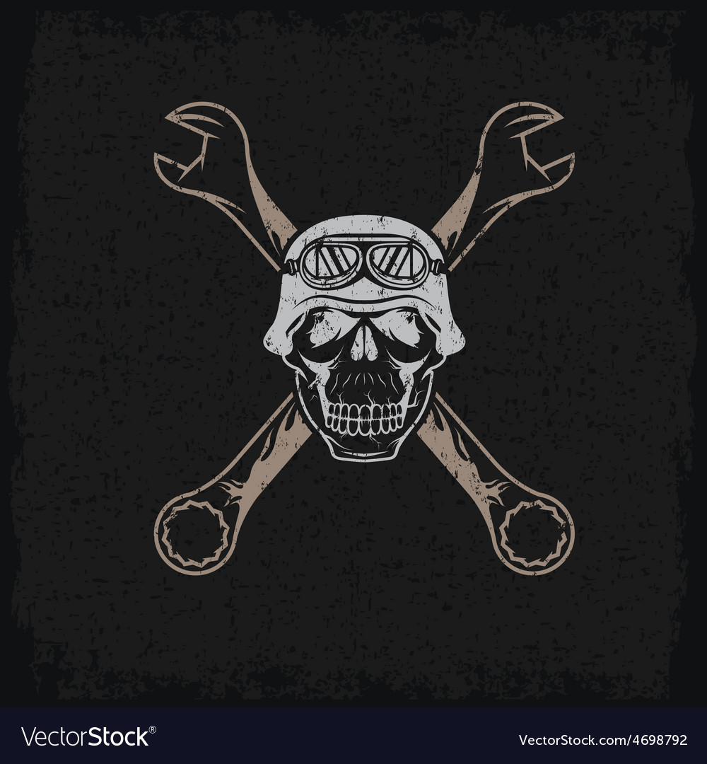 Biker theme grunge label with skull and wrenches vector | Price: 1 Credit (USD $1)