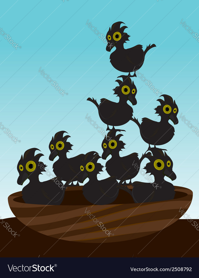 Birds in nest vector | Price: 1 Credit (USD $1)