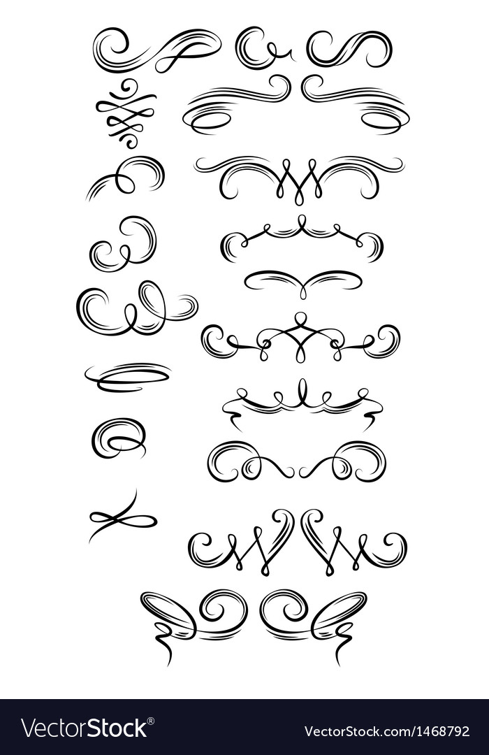 Calligraphic strokes vector | Price: 1 Credit (USD $1)