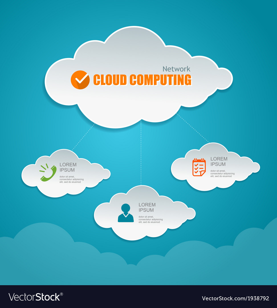 Cloud computing concept icons and text vector | Price: 1 Credit (USD $1)