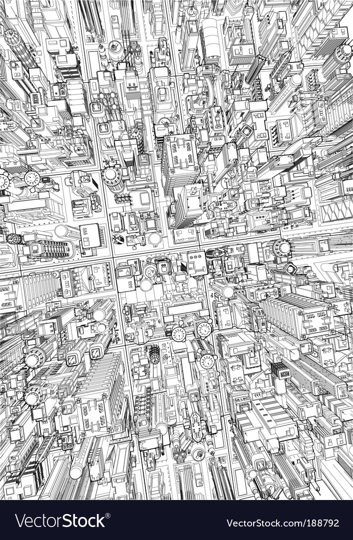 Futuristic city wireframe vector | Price: 1 Credit (USD $1)