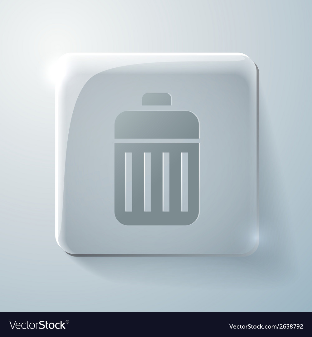 Glass square icon basket garbage vector | Price: 1 Credit (USD $1)