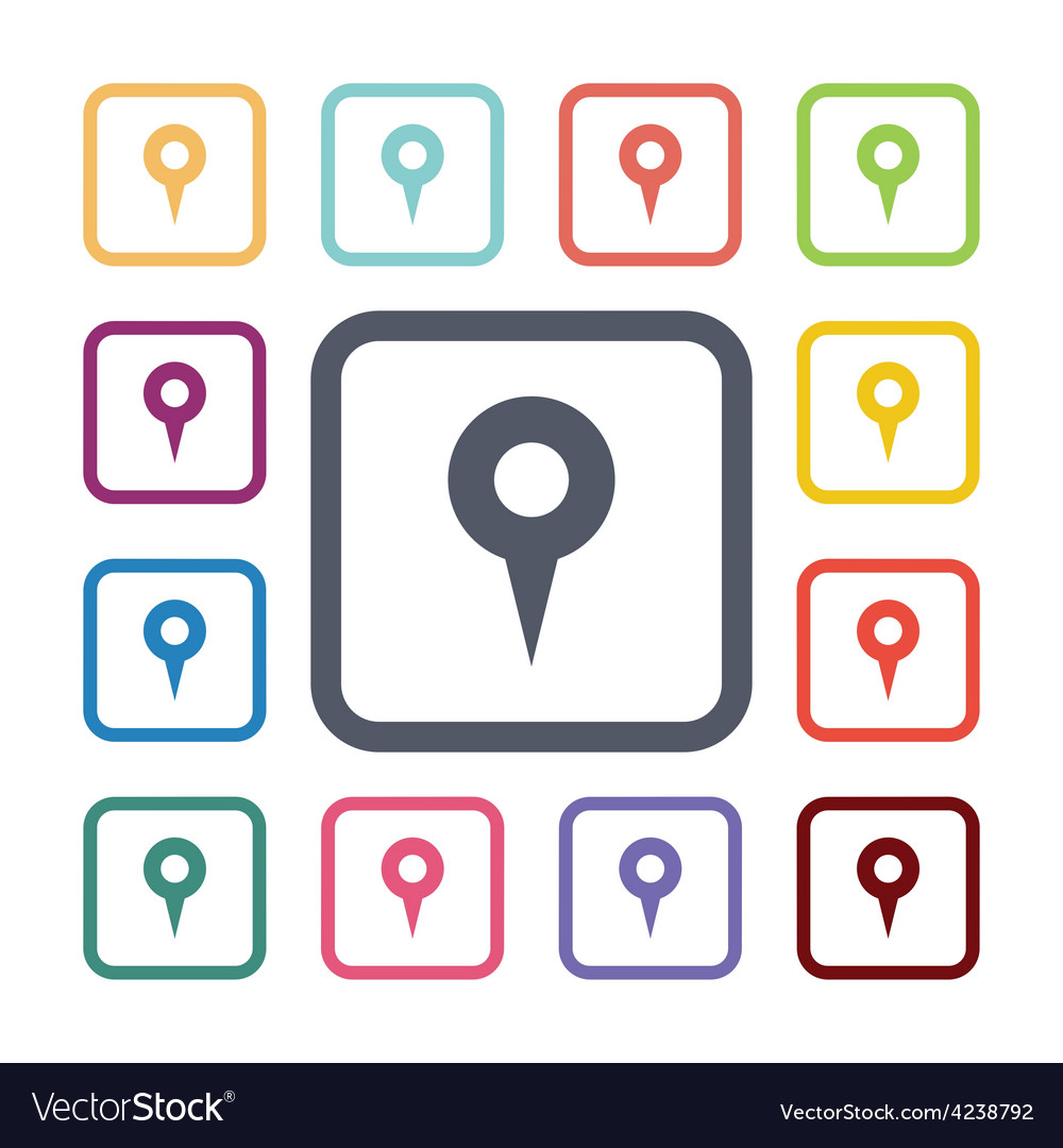 Map pin flat icons set vector | Price: 1 Credit (USD $1)