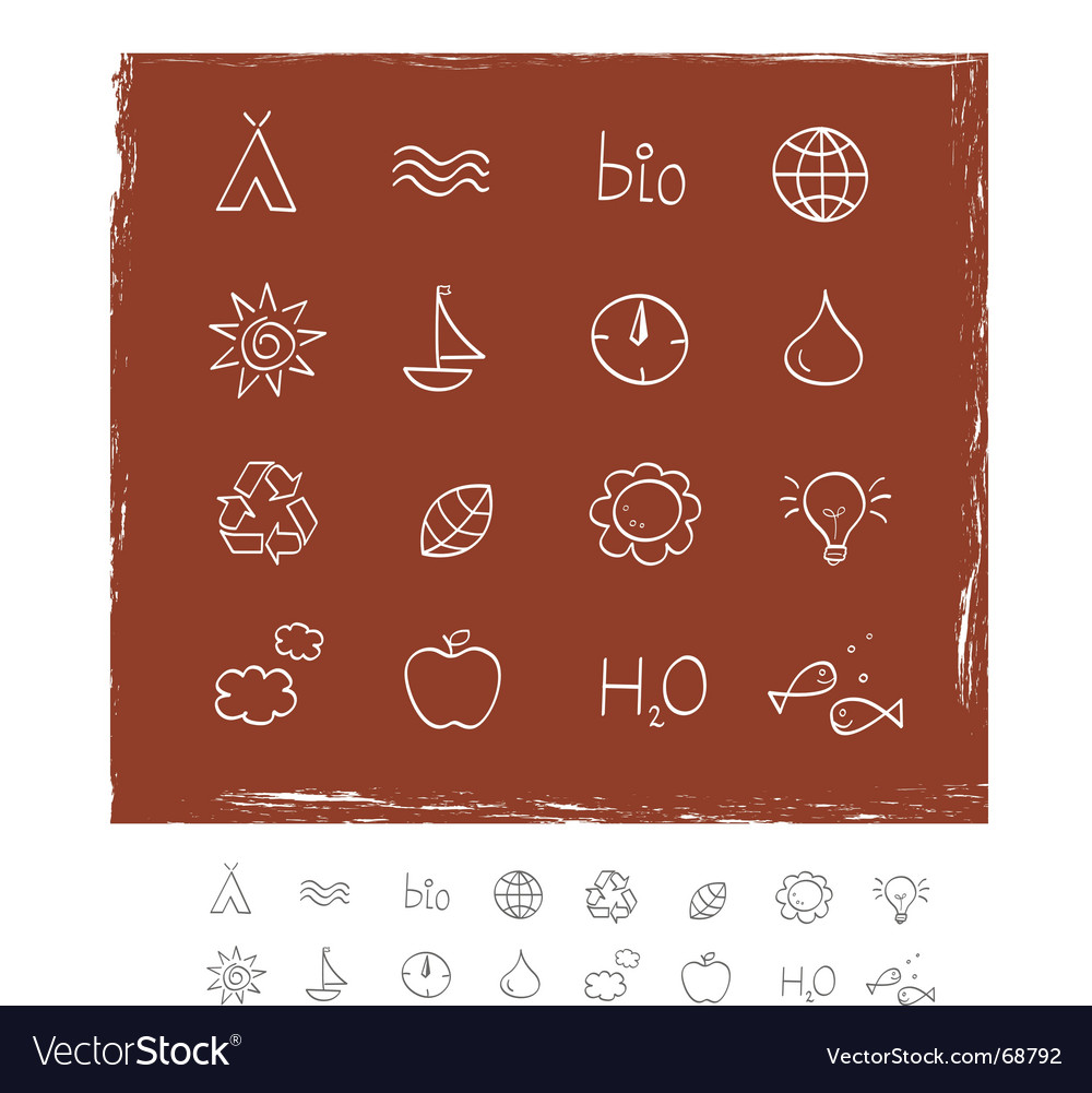 Nature and environment icons vector | Price: 1 Credit (USD $1)