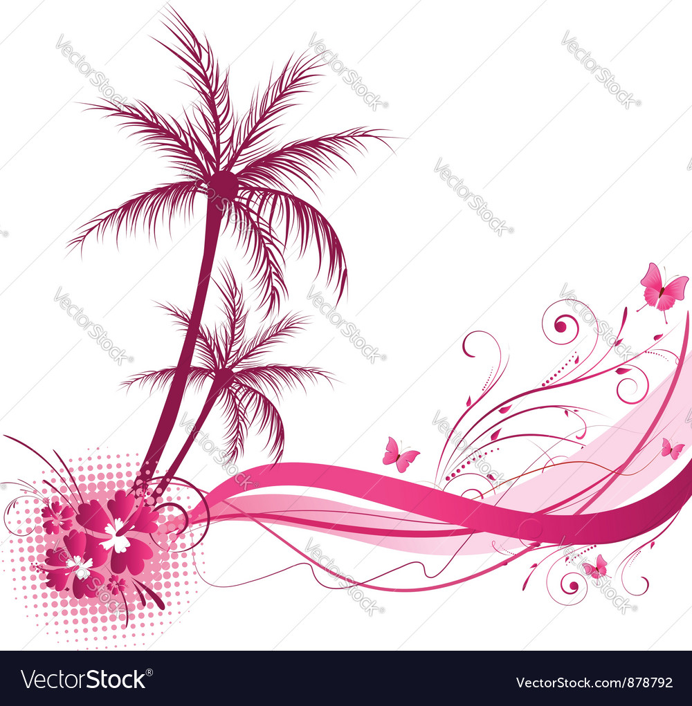 Pink palm wave vector | Price: 1 Credit (USD $1)