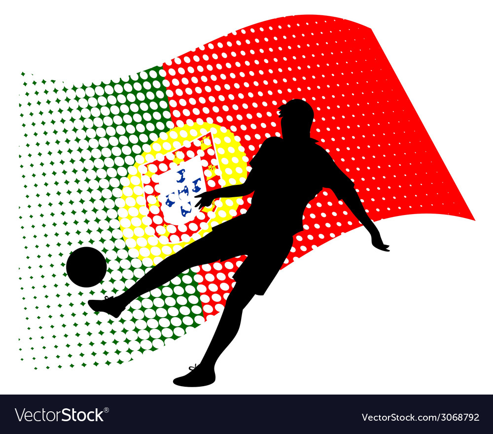 Portugal soccer player against national flag vector | Price: 1 Credit (USD $1)