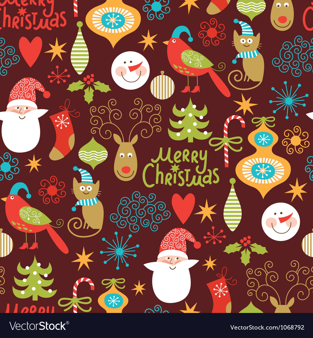Seamless pattern with new year elements vector | Price: 1 Credit (USD $1)