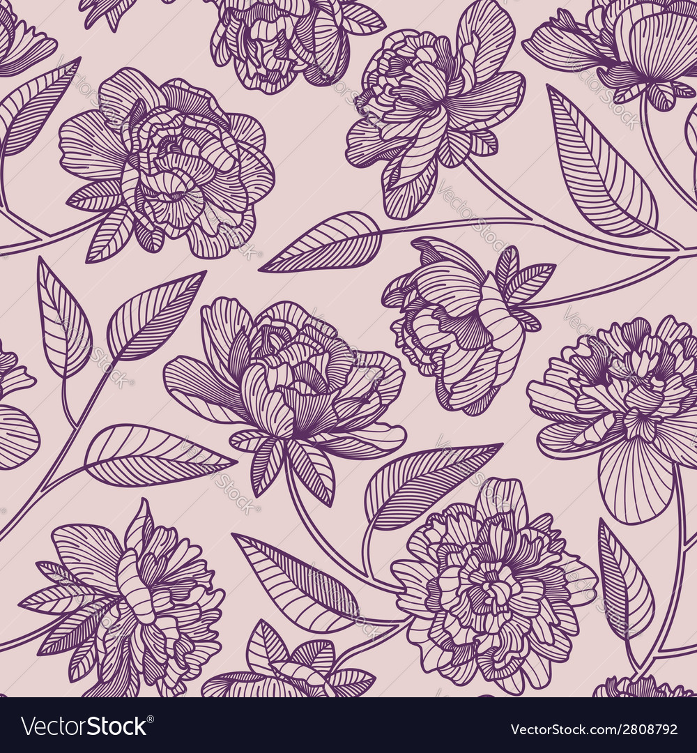 Seamless peony pattern vector | Price: 1 Credit (USD $1)