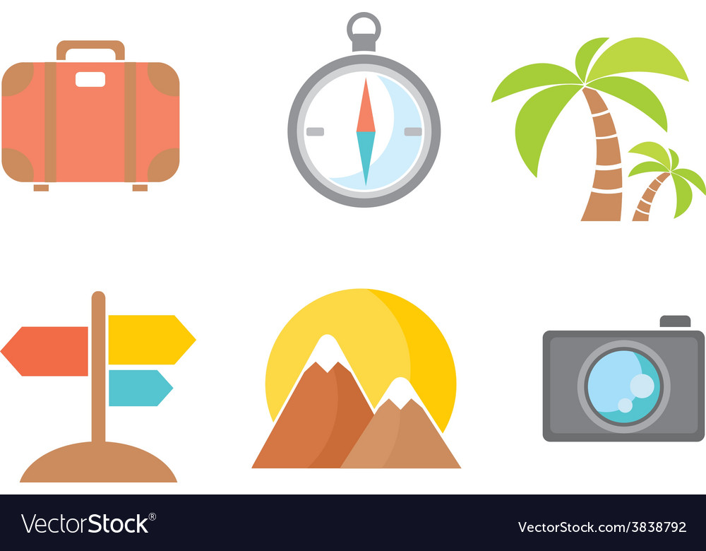 Summer icons flat design trend vector | Price: 1 Credit (USD $1)