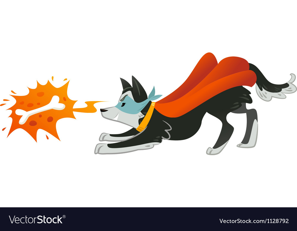 Super hero dog is looking up in bone with fire vector | Price: 1 Credit (USD $1)