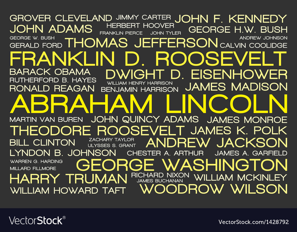 The tag cloud showing the names of all presidents vector | Price: 1 Credit (USD $1)