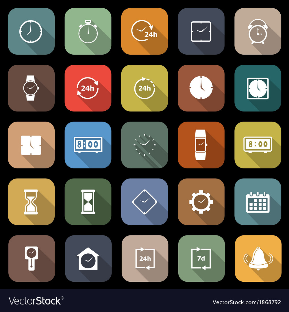 Time flat icons with long shadow vector | Price: 1 Credit (USD $1)