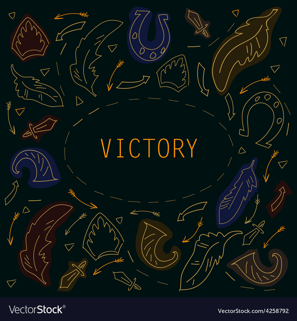 Victory frame for text in vintage stale vector | Price: 1 Credit (USD $1)