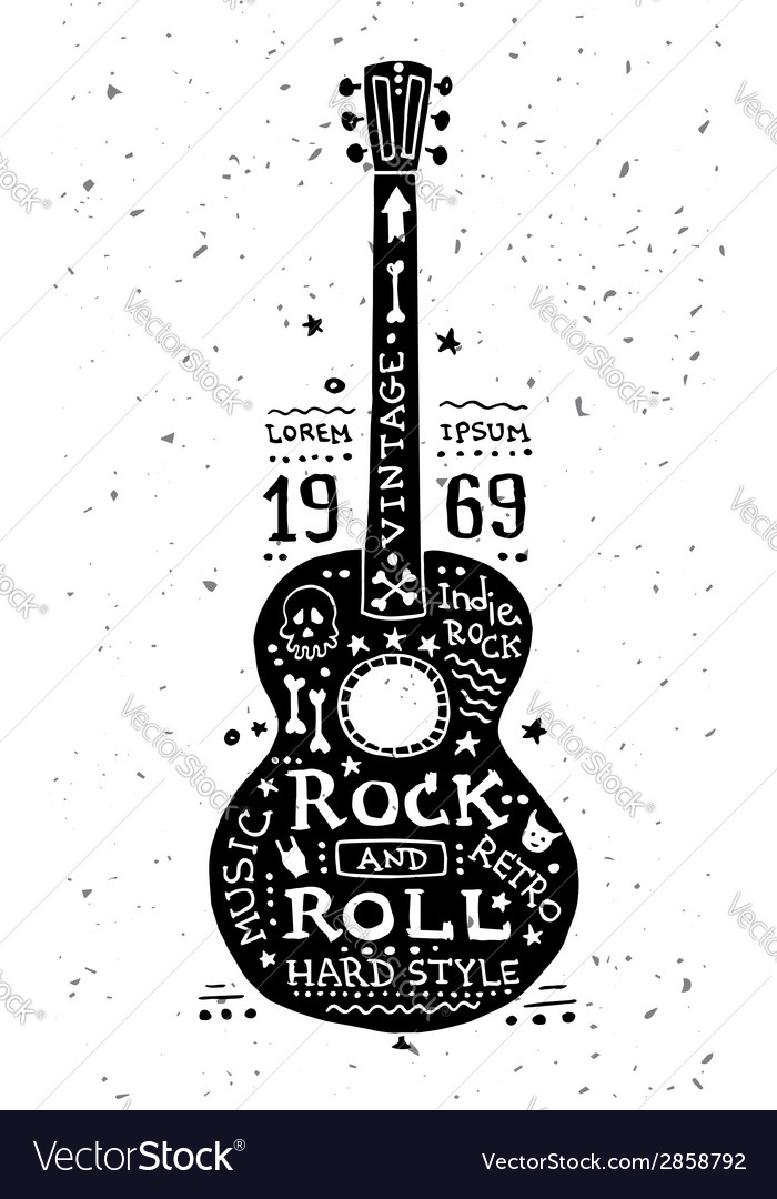 Vintage grunge label with guitar vector | Price: 1 Credit (USD $1)
