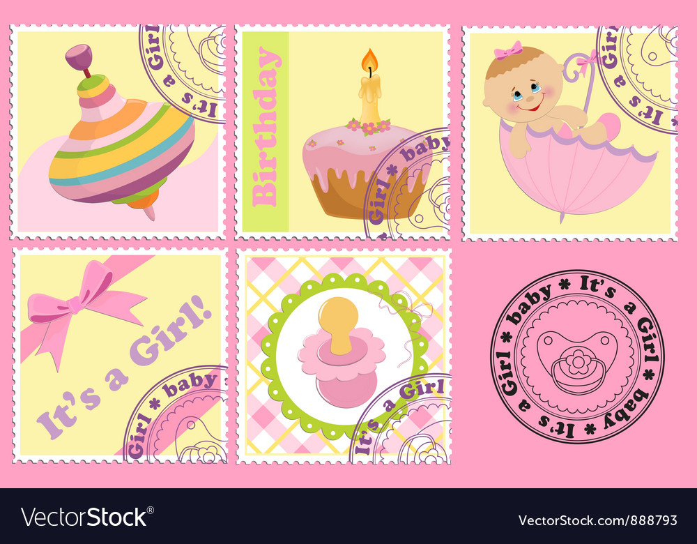 Babys postage marks and stamps vector | Price: 1 Credit (USD $1)
