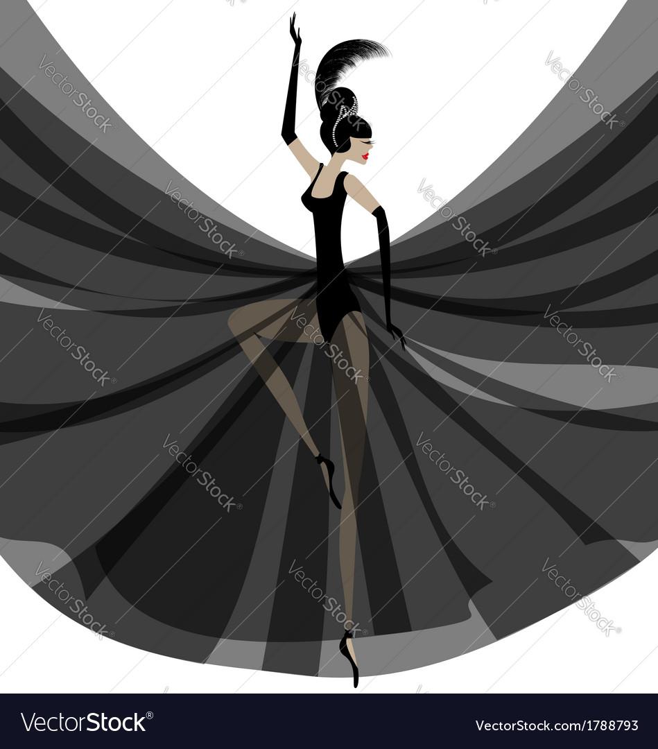 Ballerina in black vector | Price: 1 Credit (USD $1)