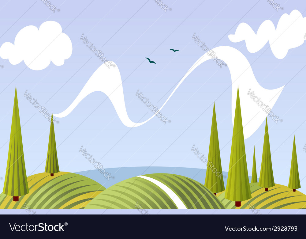 Cartoon summer fields and meadows landscape vector | Price: 1 Credit (USD $1)