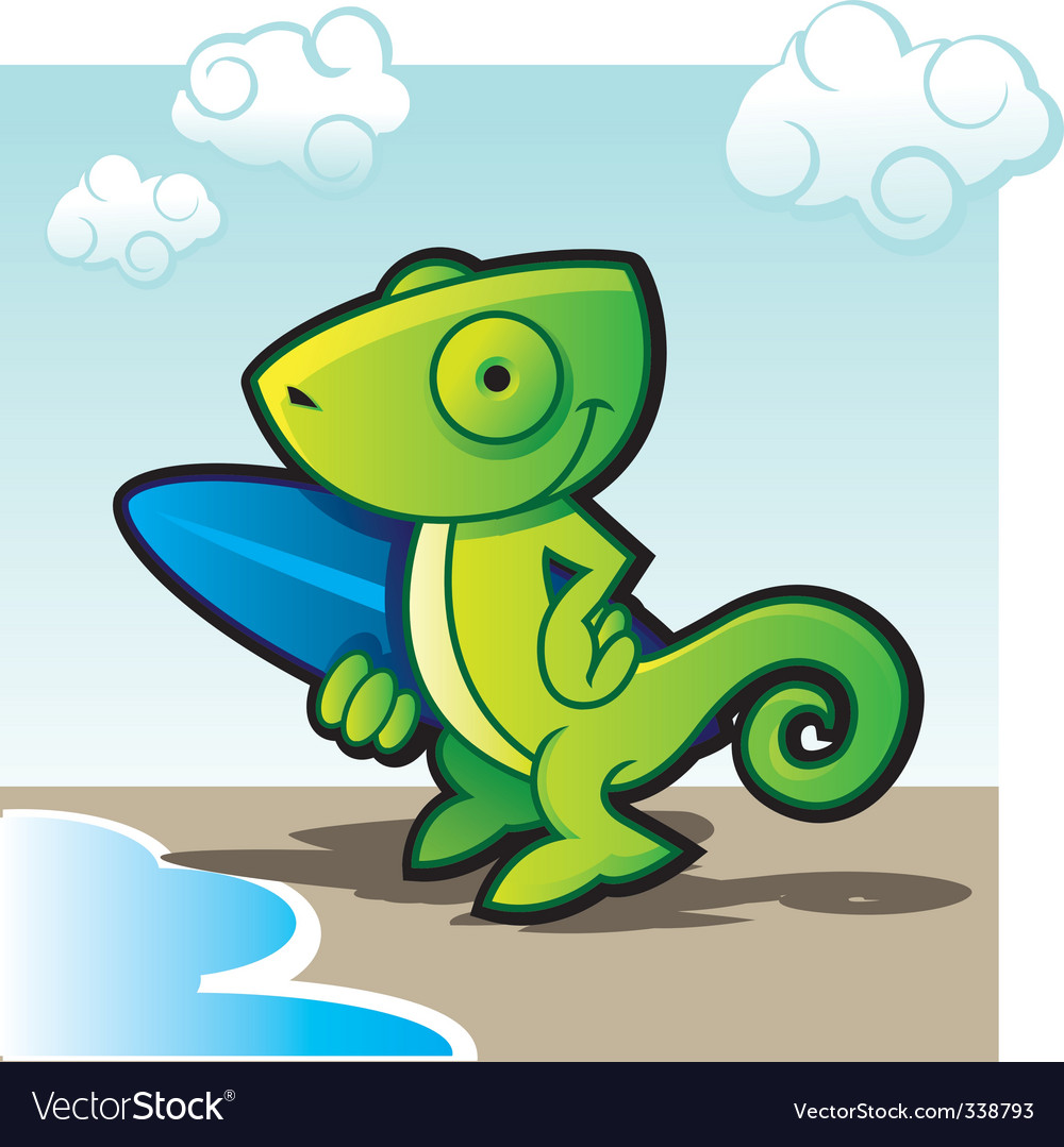 Chameleon surfer vector | Price: 1 Credit (USD $1)