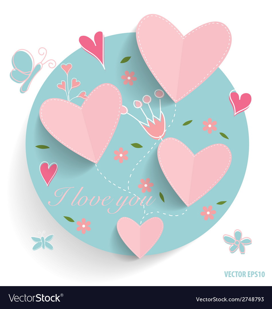 Cute card with heart and floral bouquets vector | Price: 1 Credit (USD $1)