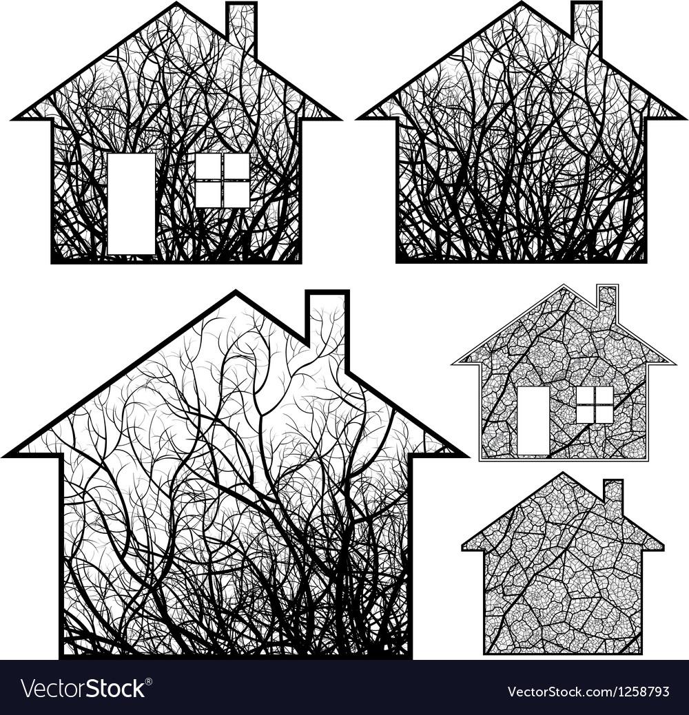 Eco houses vector | Price: 1 Credit (USD $1)