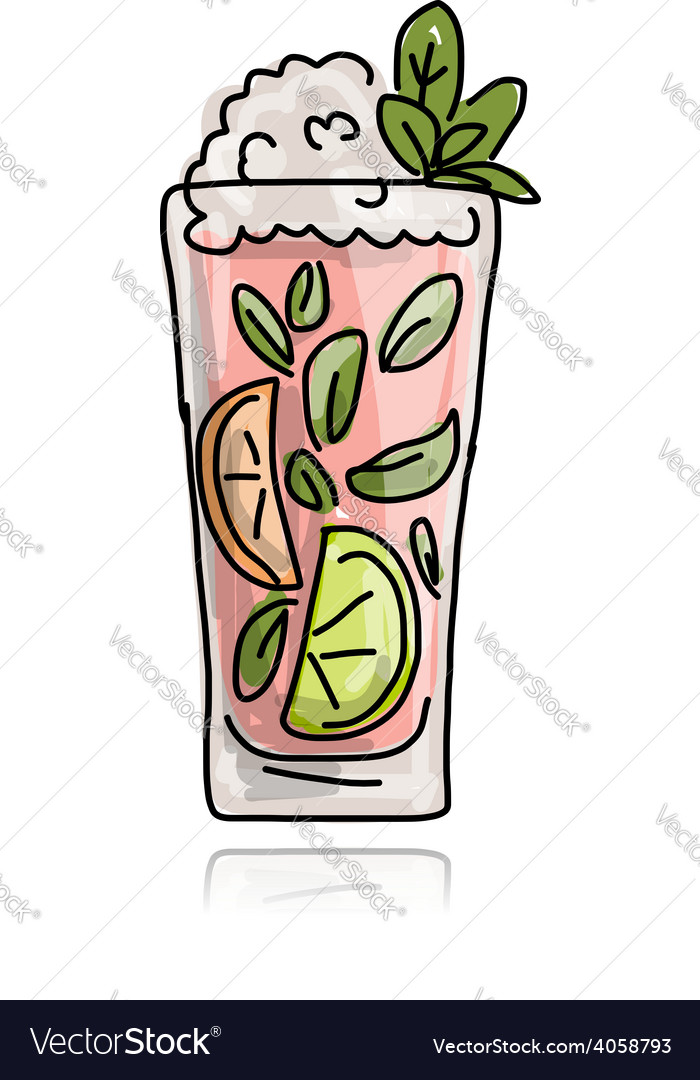 Glass with cocktail sketch for your design vector | Price: 1 Credit (USD $1)