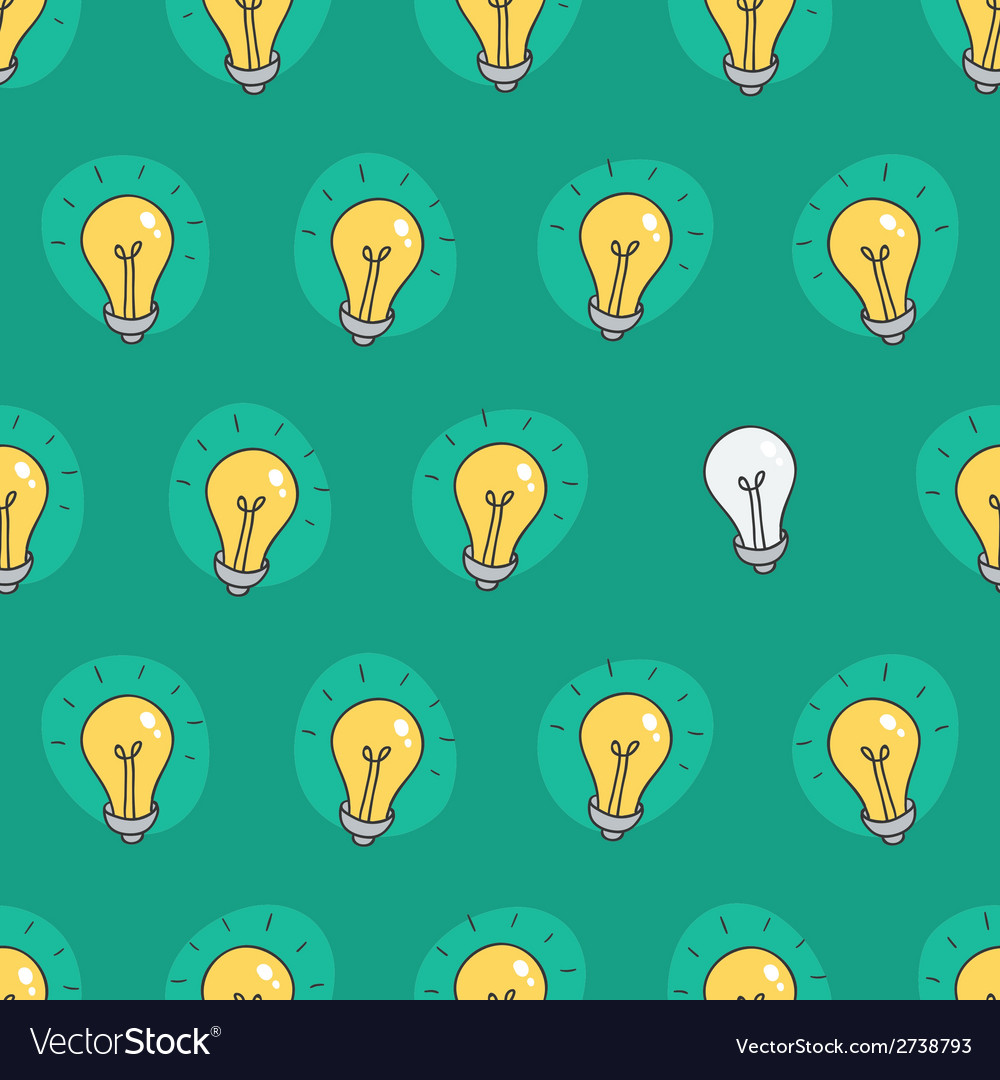 Hand drawn seamless pattern of light bulbs idea vector | Price: 1 Credit (USD $1)