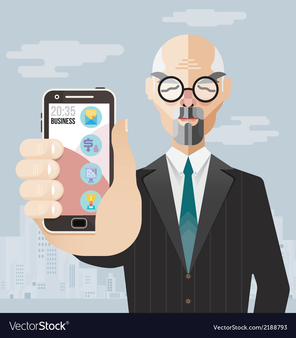 Old business man with smartphone vector | Price: 3 Credit (USD $3)