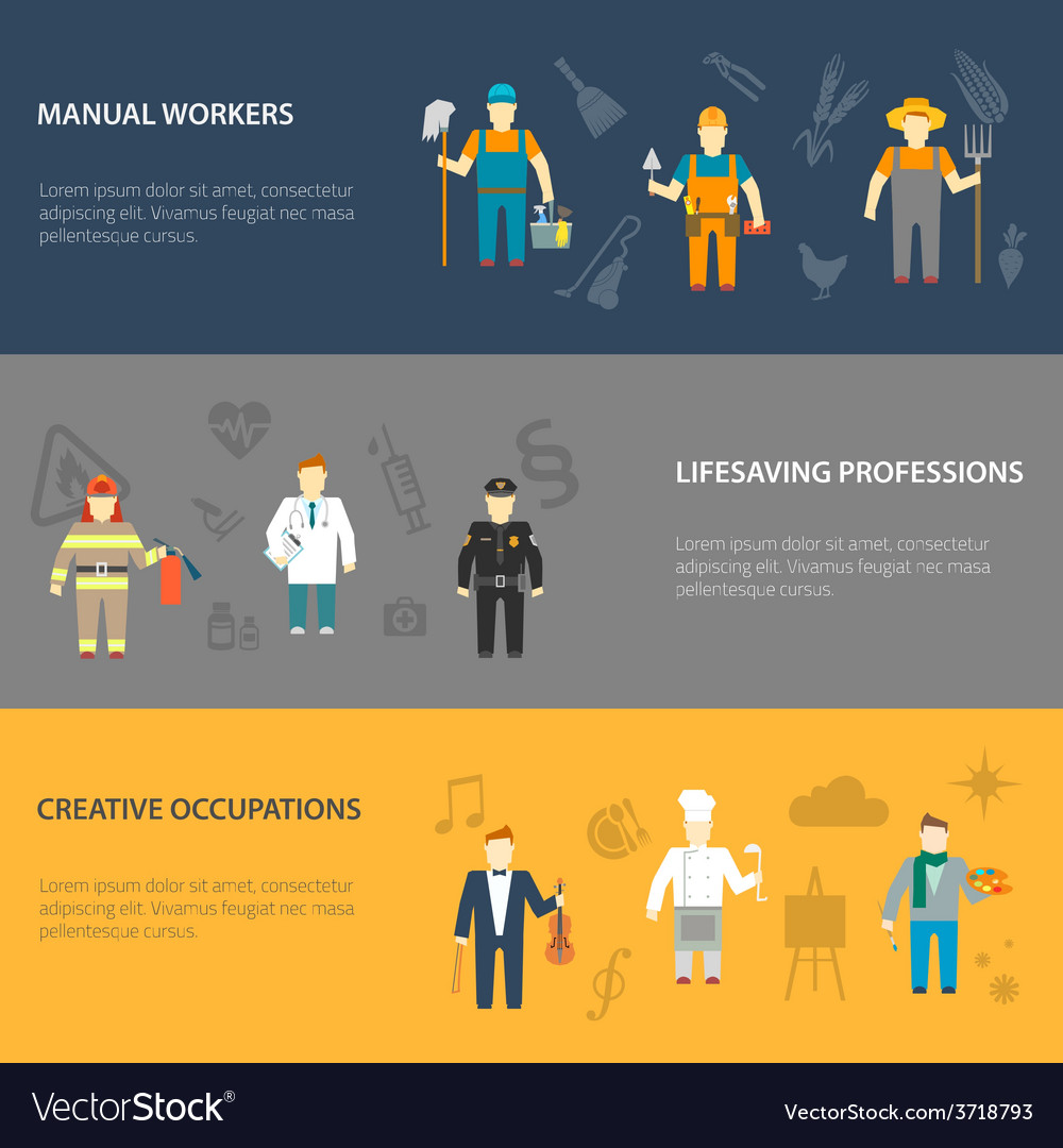 Profession characters horizontal banners flat vector | Price: 1 Credit (USD $1)