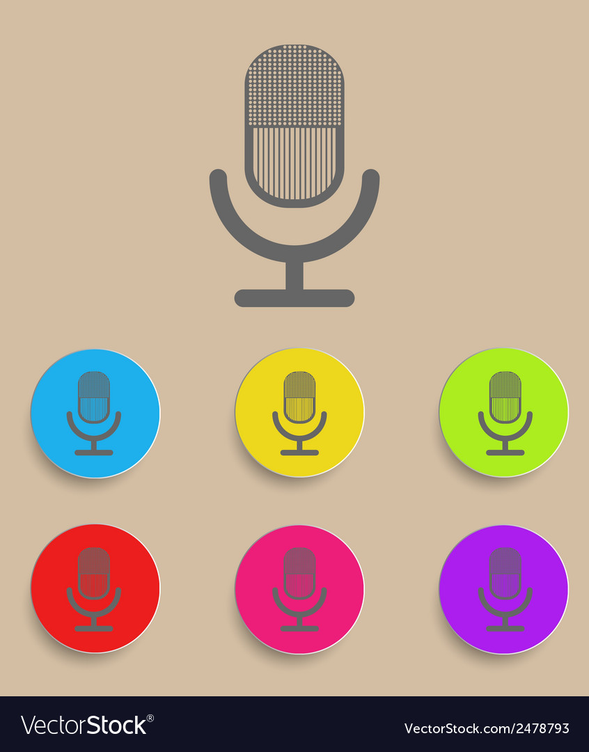 Retro microphone icon with color variations vector | Price: 1 Credit (USD $1)