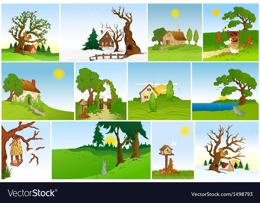 Set of natural backgrounds vector | Price: 3 Credit (USD $3)