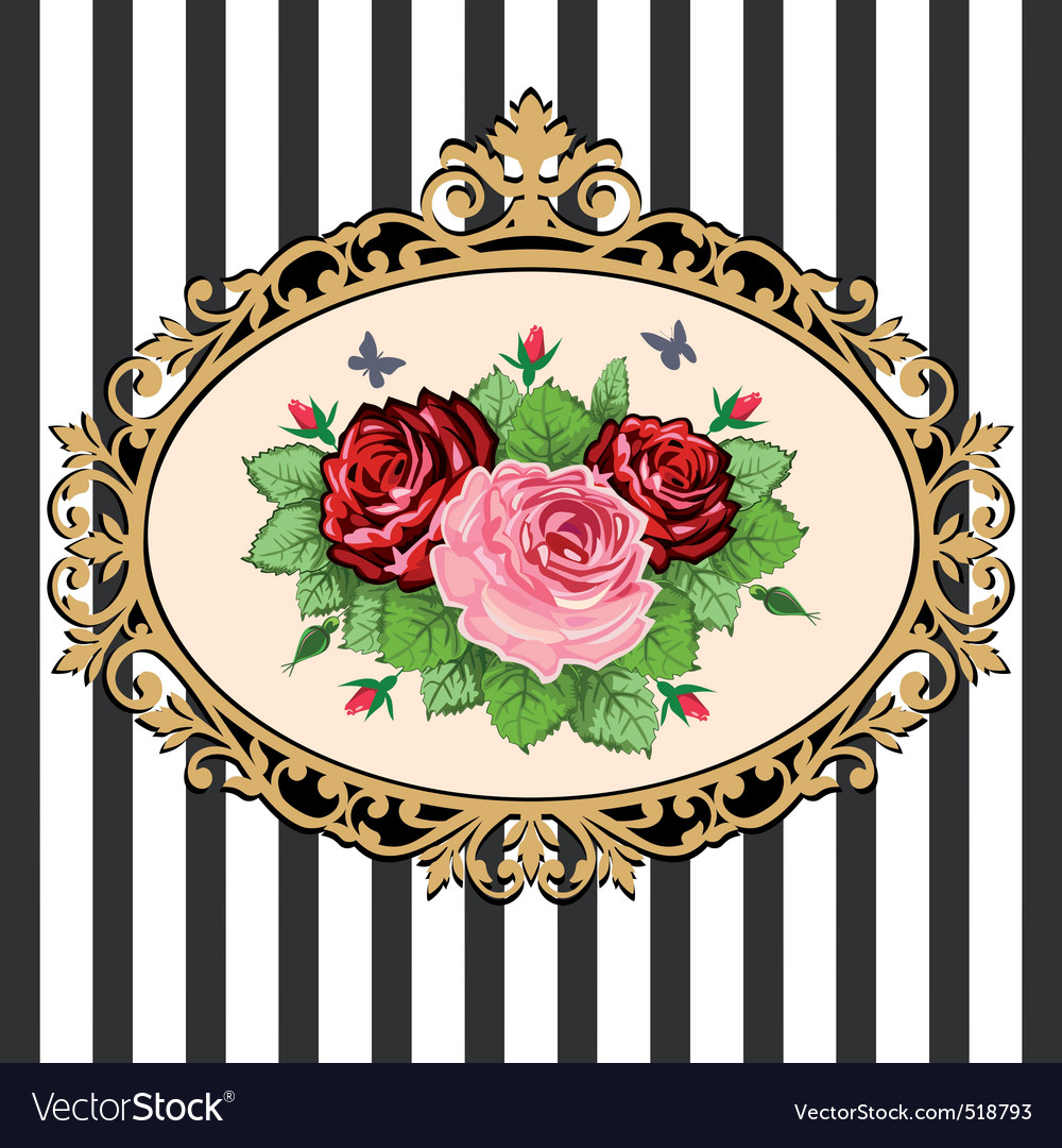 Vintage rose bouquet frame vector | Price: 1 Credit (USD $1)