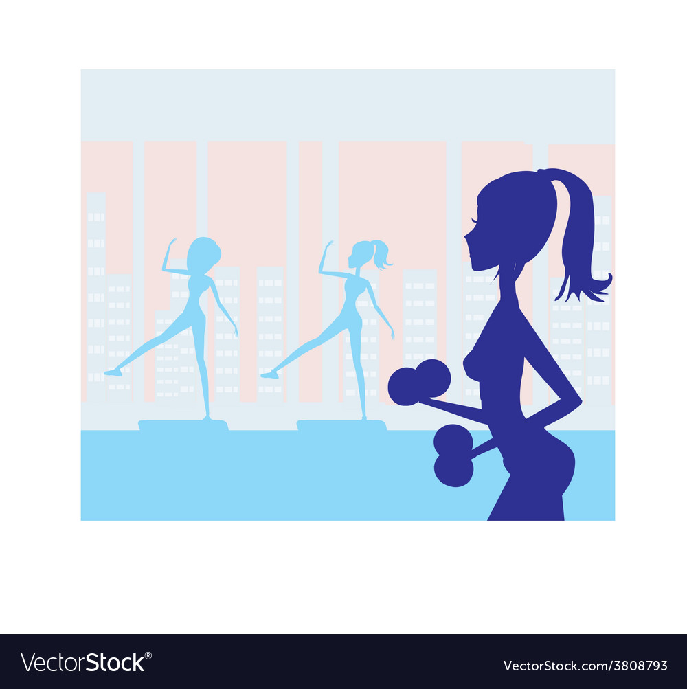Women exercising in gym vector | Price: 1 Credit (USD $1)
