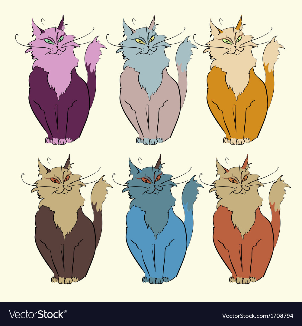 6 cats vector | Price: 1 Credit (USD $1)
