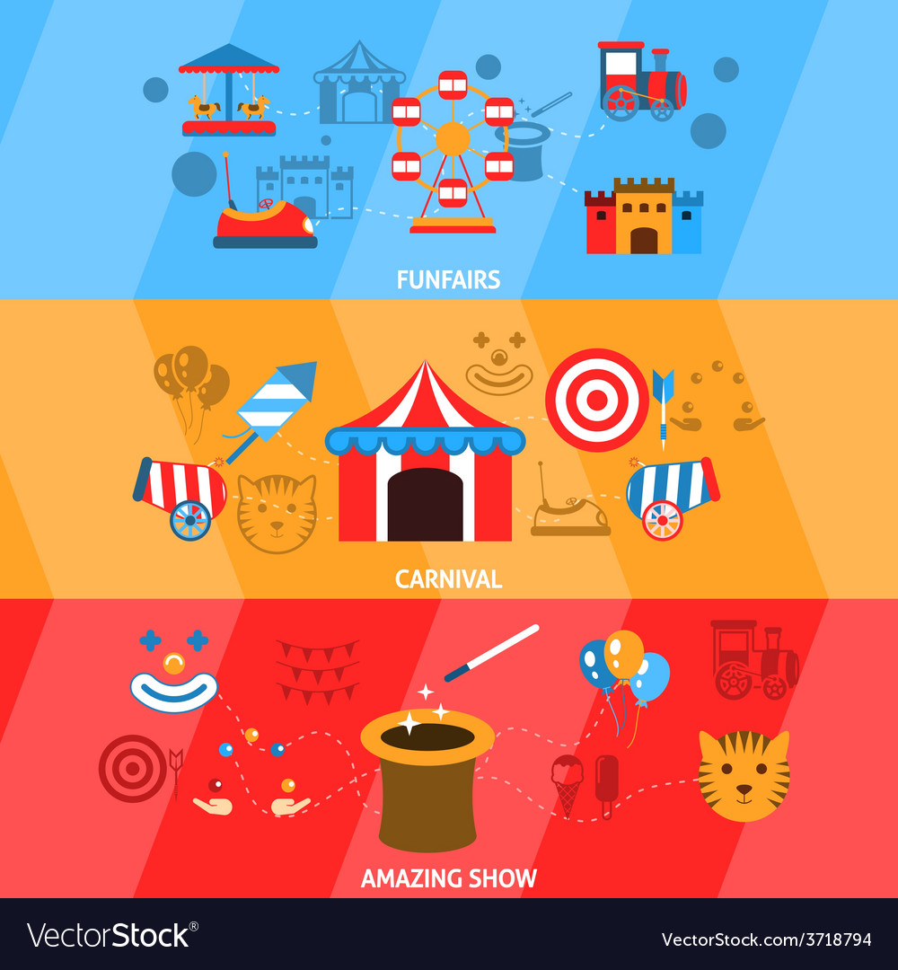 Amusement park banner set vector | Price: 1 Credit (USD $1)