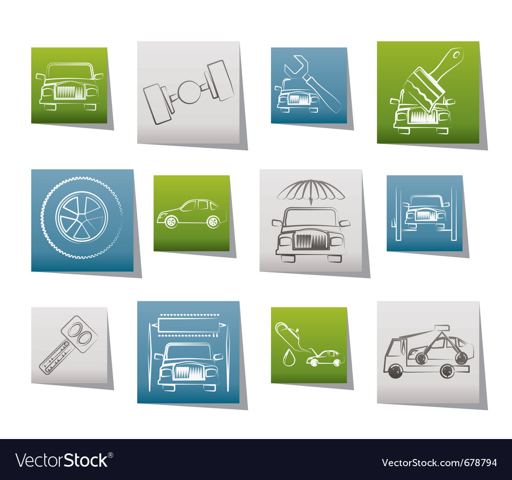 Auto service and transportation icons vector | Price: 1 Credit (USD $1)