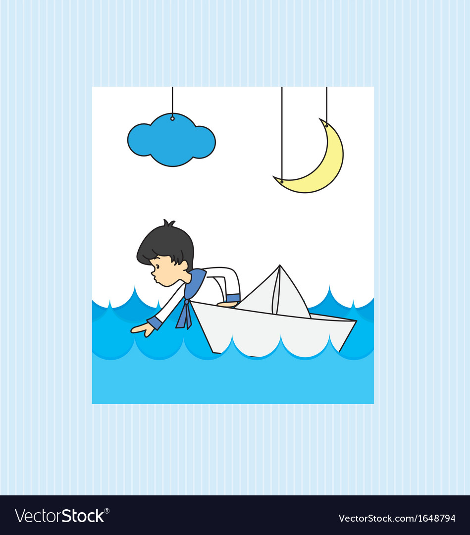 Boy in a paper boat vector | Price: 1 Credit (USD $1)