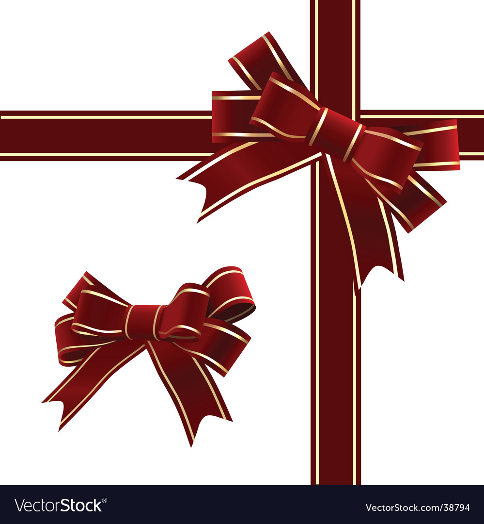 Christmas red ribbon with bow vector | Price: 1 Credit (USD $1)