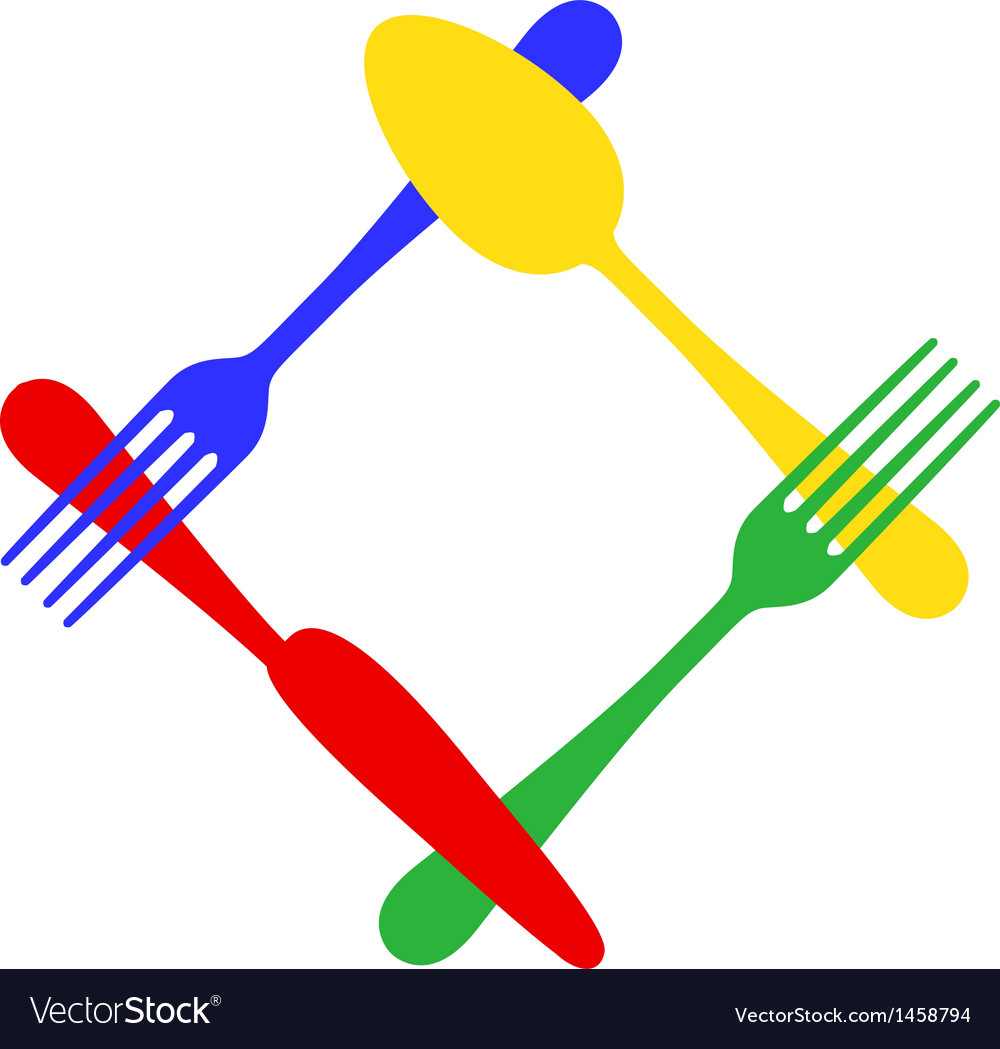 Colorful cutlery frame vector | Price: 1 Credit (USD $1)