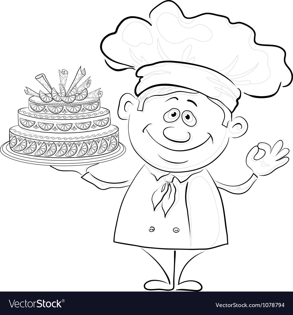Cook with holiday cake contour vector | Price: 1 Credit (USD $1)