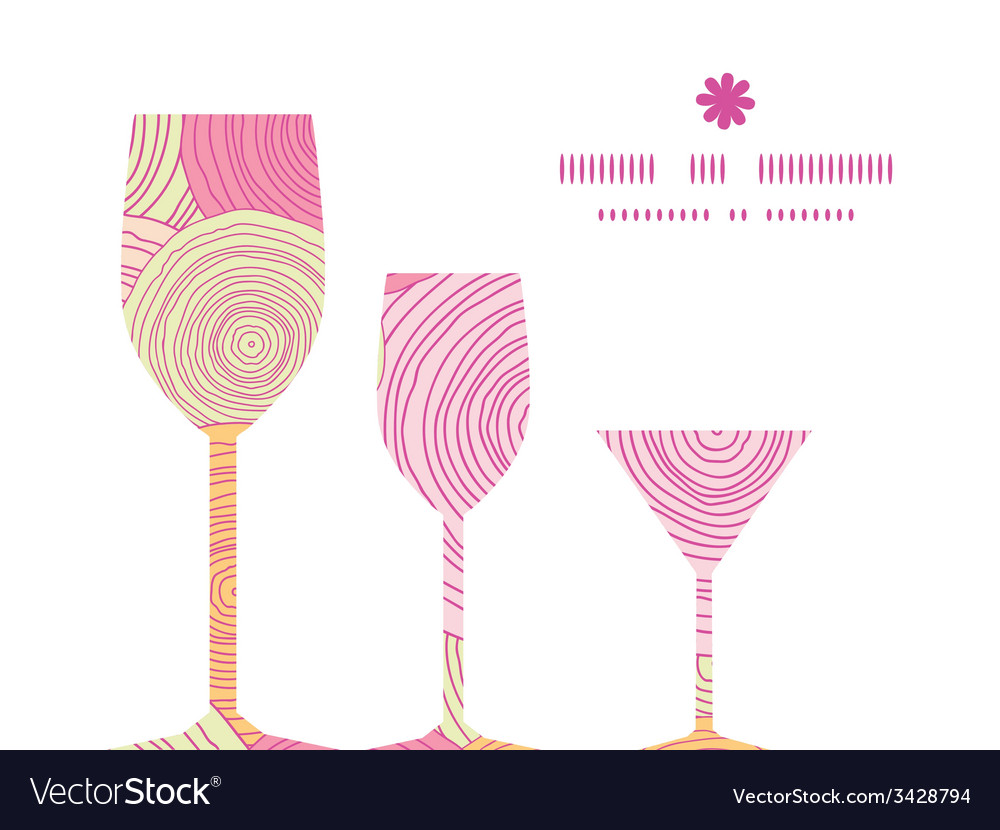 Doodle circle texture three wine glasses vector   Price: 1 Credit (USD $1)