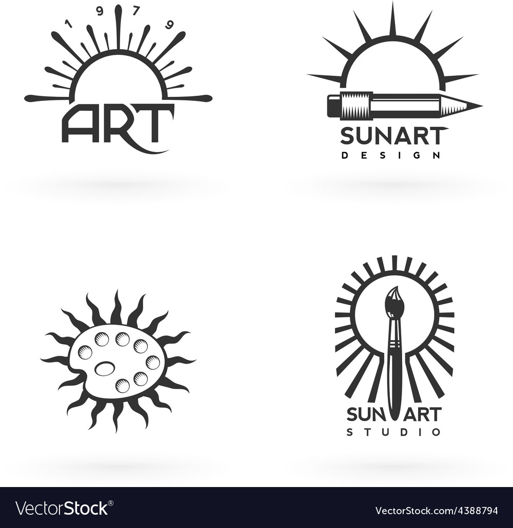 Four emblems of art and sun combination vector | Price: 1 Credit (USD $1)