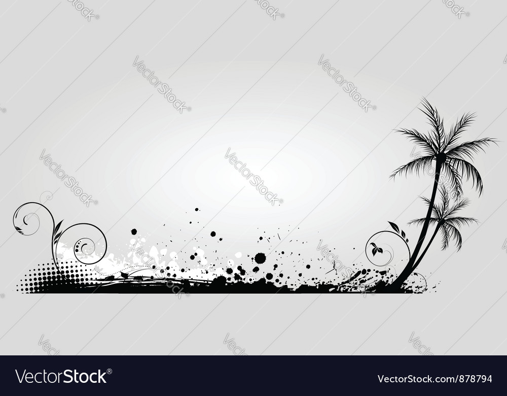 Gray banner palm vector | Price: 1 Credit (USD $1)