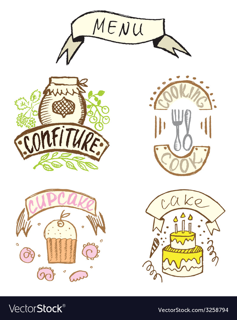 Hand-drawn badges vector | Price: 1 Credit (USD $1)