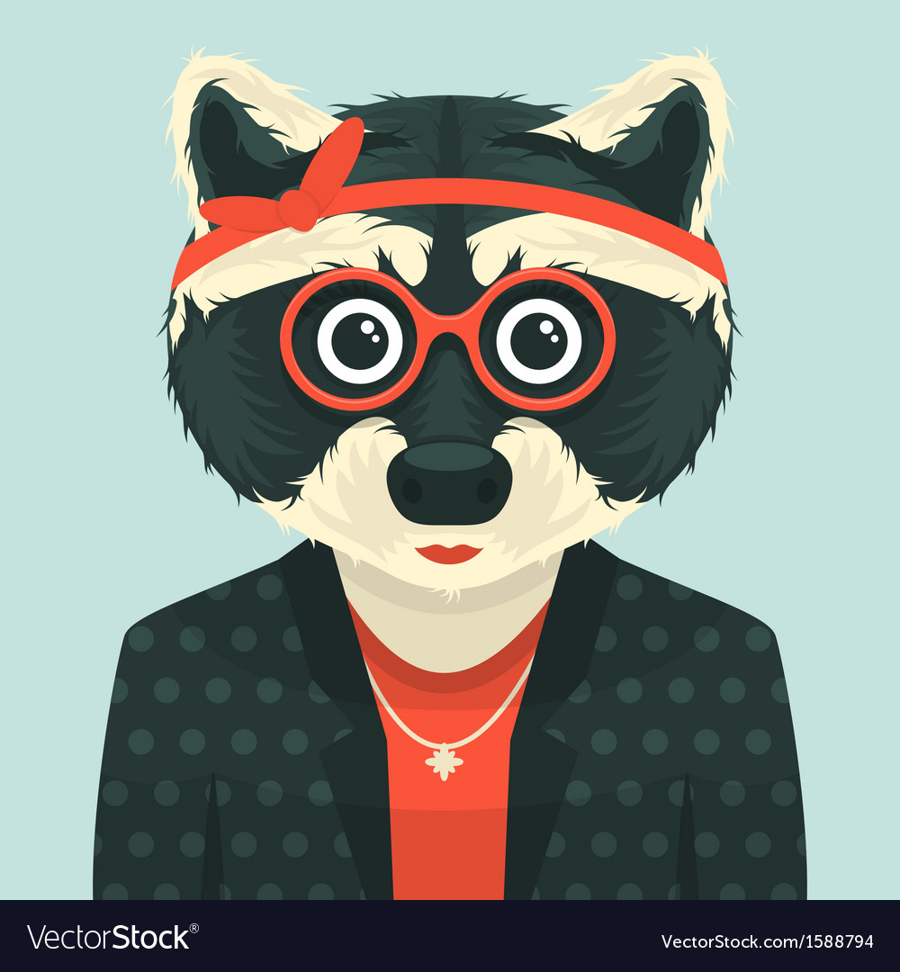 Hipster raccoon vector | Price: 1 Credit (USD $1)