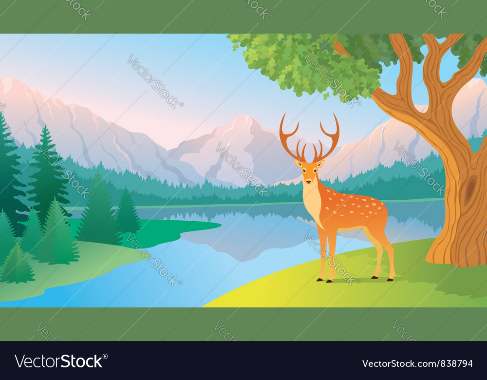 Mountain lake vector | Price: 3 Credit (USD $3)